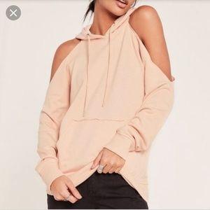 Missguided cold shoulder hoodie sweatshirt M nude